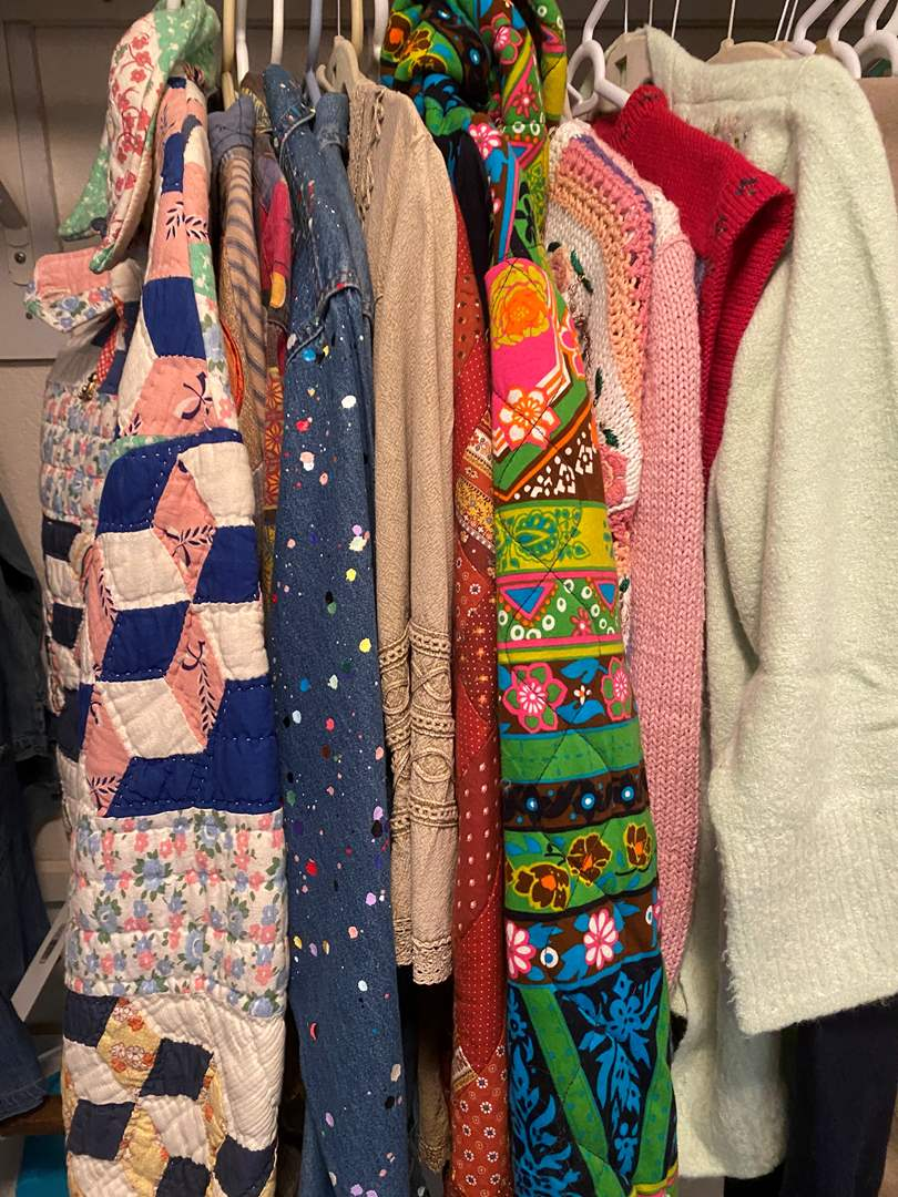 Lot # 465 - Jackets Made From Vintage Fabrics, Sweaters and Aprons (main image)