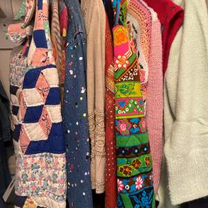 Lot # 465 - Jackets Made From Vintage Fabrics, Sweaters and Aprons