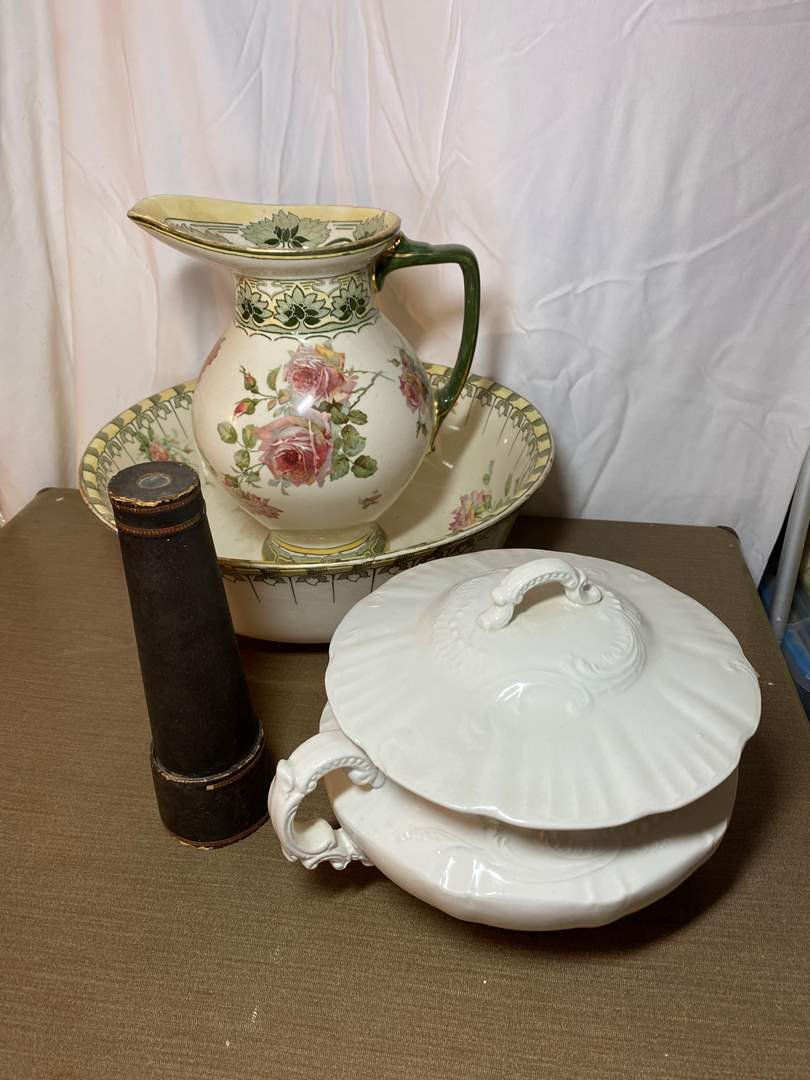 Lot # 478 - Antique Tureen, kaleidoscope and Wash Basin with Pitcher (main image)