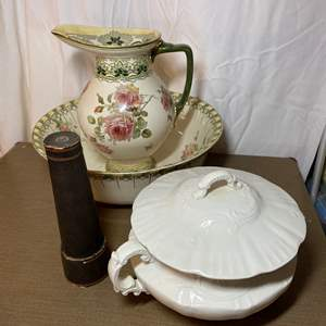 Lot # 478 - Antique Tureen, kaleidoscope and Wash Basin with Pitcher