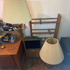 Lot # 484 - Two Lamps & CD Rack