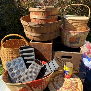 Lot # 584 - Baskets, Buckets and Other Vintage Items