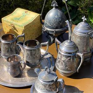 Lot # 547 - Antique Silver Plate & Weighted Sterling