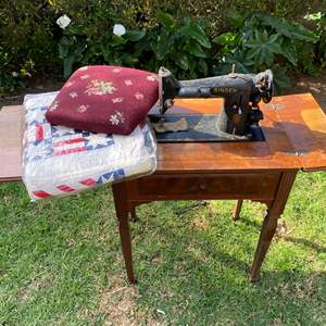 Lot # 597 - Antique Singer Sewing Machine, Quilt and Needlepoint Chair Seat