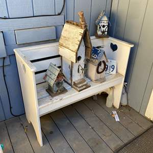 Lot # 610 - Bench With 4 Bird Houses