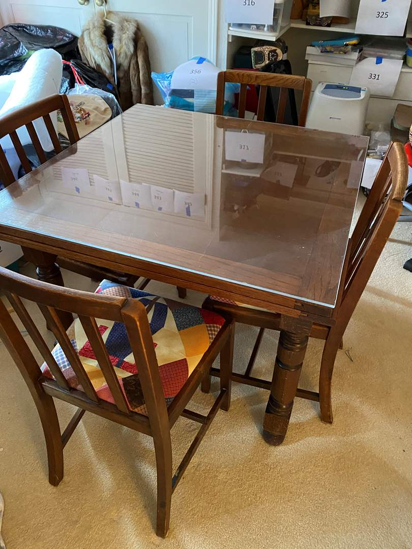 Lot # 618 - Antique Table With 4 Chairs & Plexi Table Top Covering (main image)