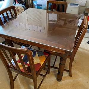 Lot # 618 - Antique Table With 4 Chairs & Plexi Table Top Covering