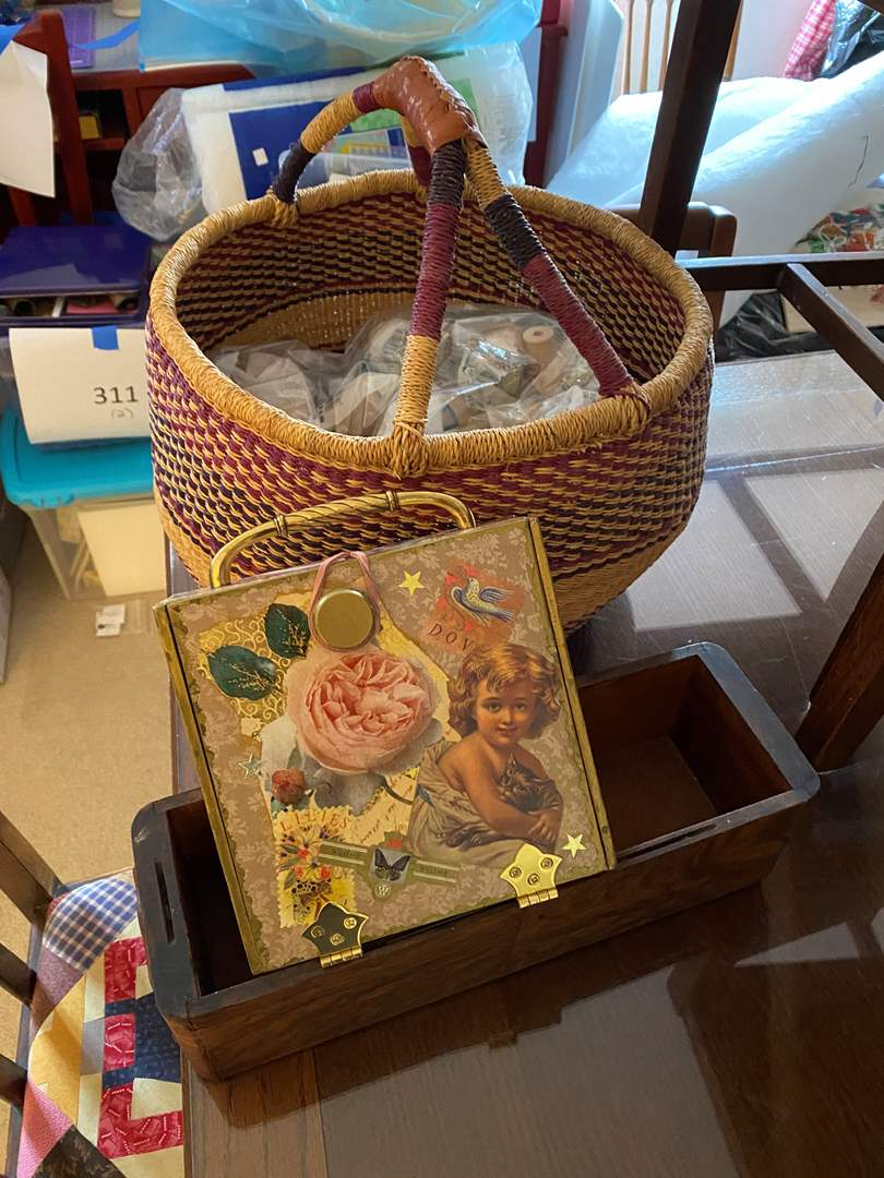 Lot # 620 - Free-Trade Basket With Crafting Supplies, Decorated Cigar Box & Wooden Drawer (main image)