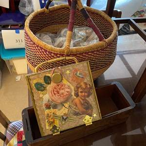 Lot # 620 - Free-Trade Basket With Crafting Supplies, Decorated Cigar Box & Wooden Drawer