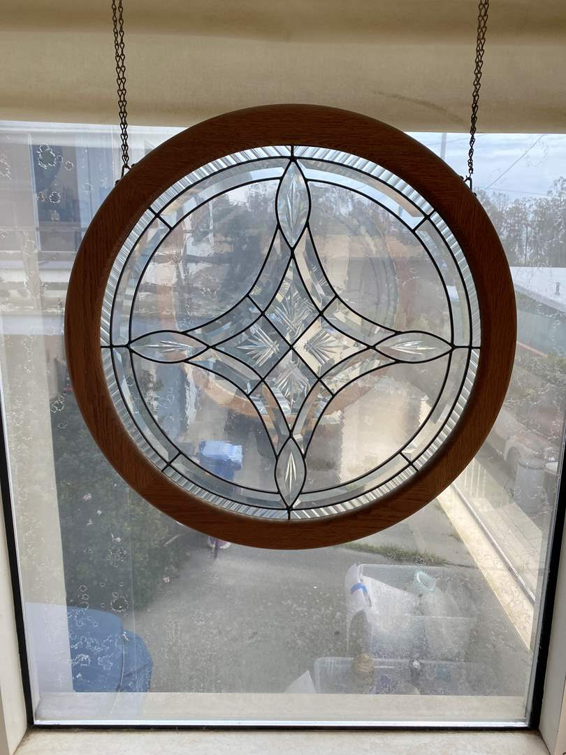 Lot # 629 - Leaded Window Pane w/Beveled Glass Panels (main image)
