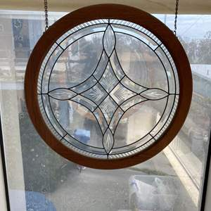 Lot # 629 - Leaded Window Pane w/Beveled Glass Panels
