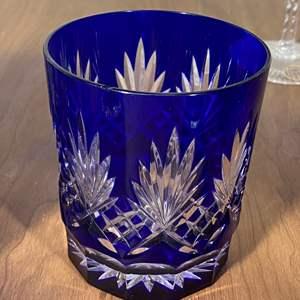 Lot # 635 - Cobalt Blue Cut Crystal High Ball & Whiskey Glasses