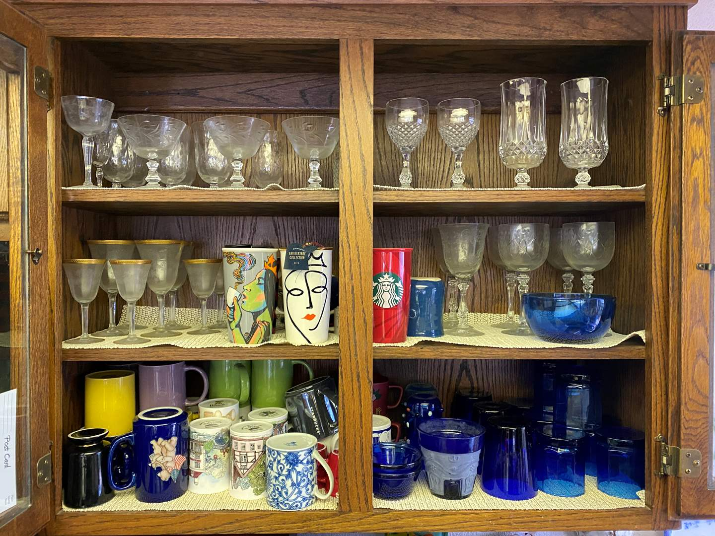 Lot # 641 - Kitchen Cupboard Goods, Including Starbucks Mug Collection & Antique Stemware (main image)