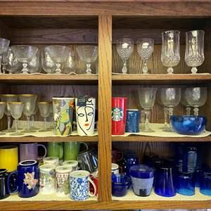 Lot # 641 - Kitchen Cupboard Goods, Including Starbucks Mug Collection & Antique Stemware