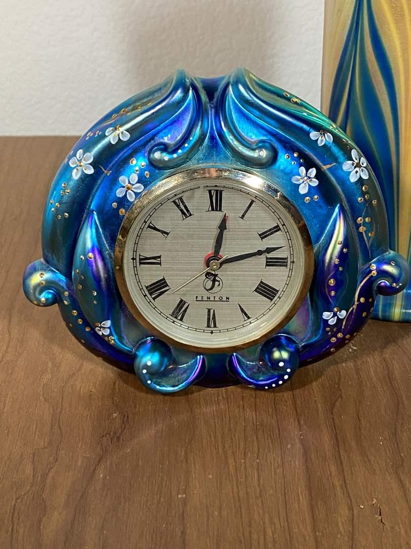 Lot # 647 - Fenton Glass Clock (main image)