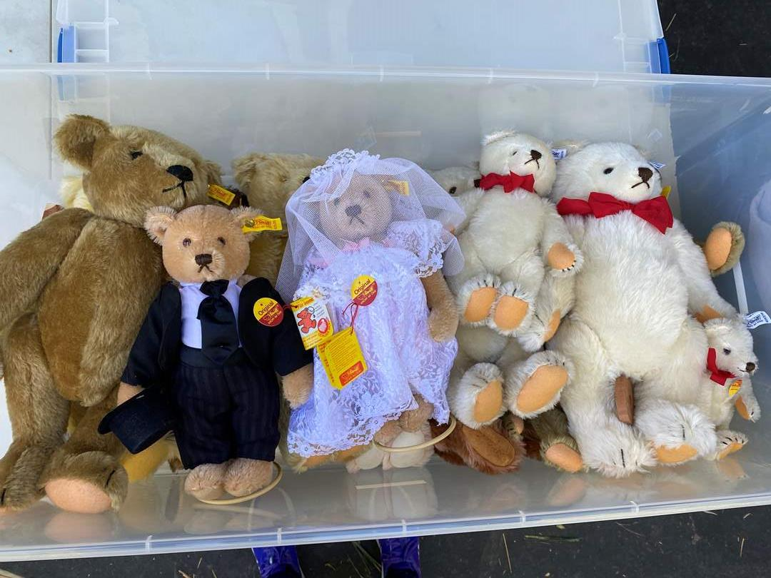 Lot # 13  - Extra Large Tote of Steiff Bears Collection and others (main image)
