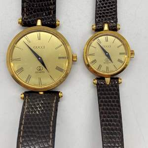 Lot # 93 - Gucci His and Her Roman Numerals Watch Set - Circa 1980's