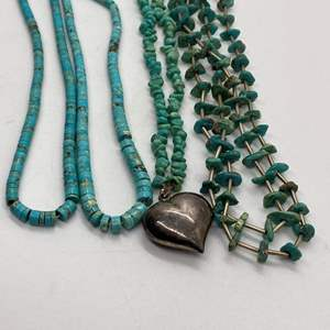 Lot # 103 - 4 Turquoise & Silver Bead Necklaces