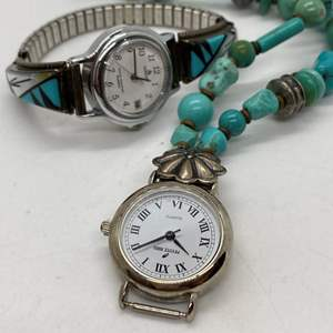 Lot # 104 - Two Silver & Turquoise Watches - Peyote Bird Design and Lorus