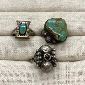 Lot # 115 - Native American Silver & Turquoise Rings