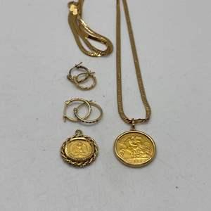 Lot # 140 - 1920 Gold Dos Pesos Coin, 1909 Gold Coin & 14k Hallmarked Earrings (15.7g)