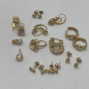 Lot # 141 - 14k Hallmarked Earrings - all with CZ stones (19.0g)
