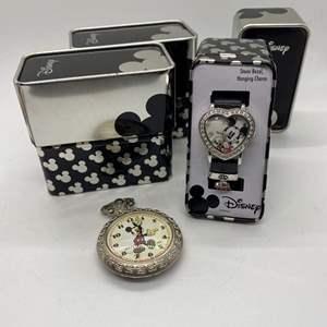 Lot # 183  - Disney Pocket Watch & Wrist Watch w/Extra Tins