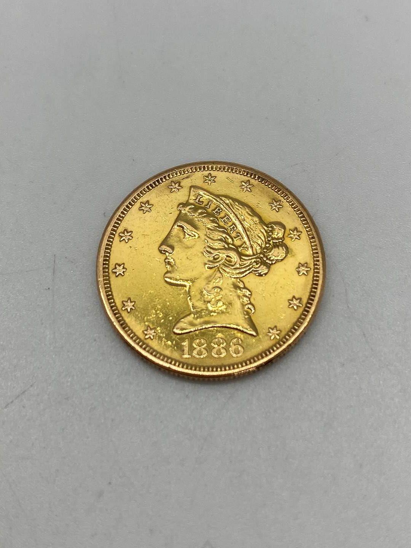Lot # 203 - Five Dollar US Gold Piece 1886 (8.4g) (main image)