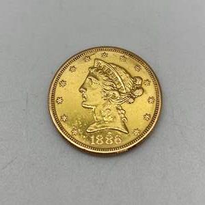 Lot # 203 - Five Dollar US Gold Piece 1886 (8.4g)