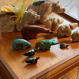 Lot # 372 - Carved Stone and Turquoise Miniature Bears with Display Case