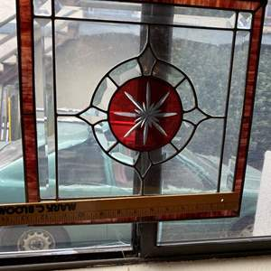 """Lot # 376 - Two Hanging 13"""" Square Stained Glass Panels"""