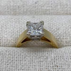 Lot # 403 - Square Brilliant Cut 2.01 Carat Diamond (VS-2), 14k Gold Ring - Appraised $18,734.