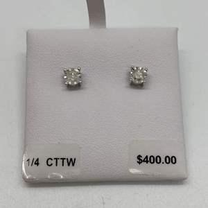 Lot # 411 - 1/4 C Diamond Earrings - New in box