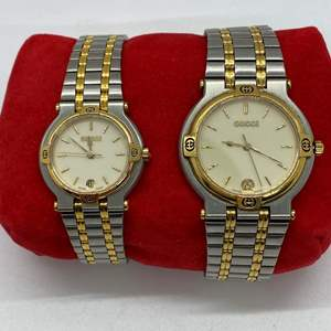Lot # 412 - Gucci Men's & Women's Watch 9000M Quartz Cream Dial Gold Silver