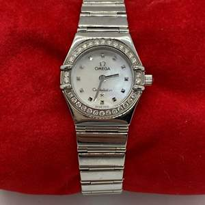 Lot # 413 - Omega 925 Silver With Diamond Bezel Ladies Watch