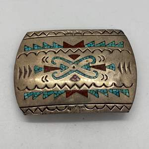 Lot # 430 - Native American Sterling, Turquoise and Coral Large Belt Buckle (35.8g)