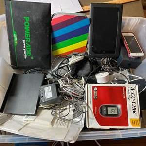 Lot # 456 - Tote Full of Electronics - Nooks, iphone, Solar Chargers,