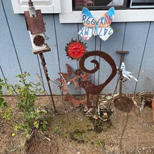 Lot # 509 - Decorative Assorted  Metal Garden Stakes