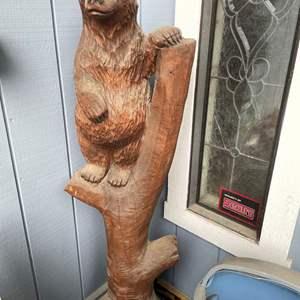 Lot # 526 - 4 1/2 Ft Tall Wood Bear Carving
