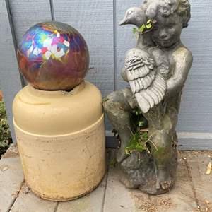 Lot # 530 - Concrete Boy Statue/ Yard Decor