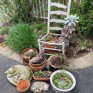 Lot # 548 - Outside Concrete Yard Decor/ Potted Plants