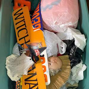 Lot #560 - Large Halloween Lot of Decorations/ Sweaters