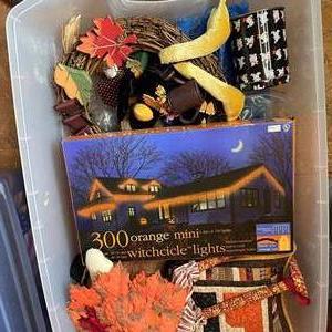 Lot # 563 - Halloween Decorations/ Lights/ Wreath