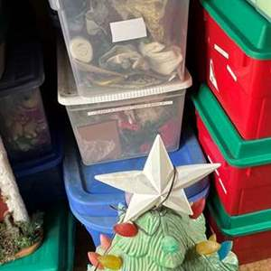 Lot # 565 - Large Christmas Lot of Decorations, Large Carousel, Ornaments, Lighted Ceramic Christmas Tree/Figurines
