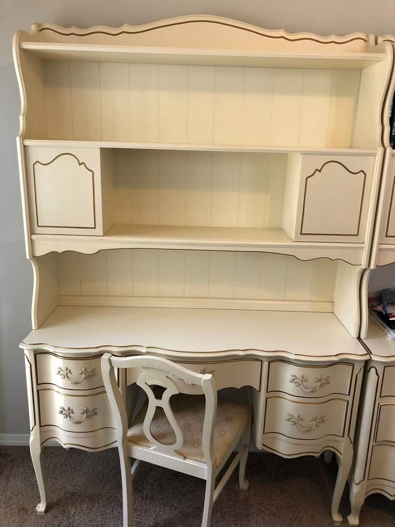 Lot # 2 - French Provincial Desk and Hutch with Chair  (main image)