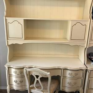 Lot # 2 - French Provincial Desk and Hutch with Chair