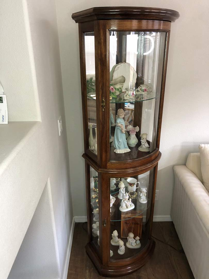 Lot # 8 - Pecan Curio Lighted Cabinet - Contents not included (main image)