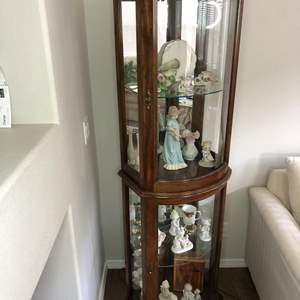 Lot # 8 - Pecan Curio Lighted Cabinet - Contents not included