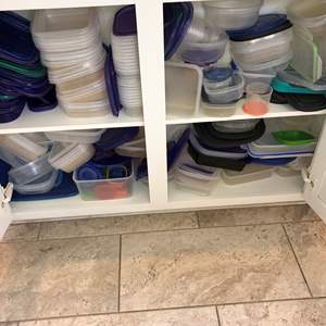 Lot # 36 - Cabinet Full of Plastic Food Containers