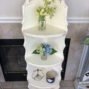 Lot # 44 - Decorative Wood Corner Unit, Decorative Items Included